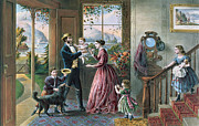 Daughters Painting Framed Prints - The Four Seasons of Life  Middle Age Framed Print by Currier and Ives