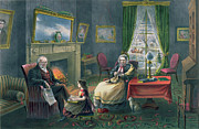 Elderly People Paintings - The Four Seasons of Life  Old Age by Currier and Ives