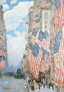 Crowds Painting Posters - The Fourth of July Poster by Childe Hassam