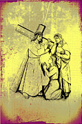 Crucify Metal Prints - The Fourth Station of the Cross - Jesus Meets his Mother Metal Print by Bill Cannon