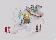 Caricature Drawings - The fourth year of independence by Samedin Latifi