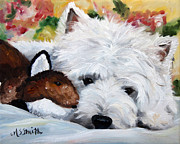Fox Terrier Puppy Framed Prints - The Fox and The Hound Framed Print by Mary Sparrow Smith