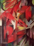 Red Abstract Paintings - The Fox by Franz Marc