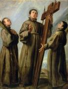 Martyr Painting Posters - The Franciscan Martyrs in Japan Poster by Don Juan Carreno de Miranda