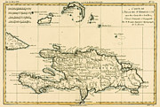 Vintage Map Drawings - The French and Spanish Colony of the Island of St Dominic of the Greater Antilles by Guillaume Raynal 