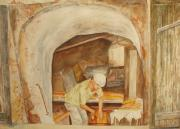 French Door Paintings - The French Baker by Vicki  Housel