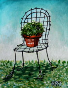 Elizaart Posters - The French Garden Cafe Chair Poster by Elizabeth Robinette Tyndall