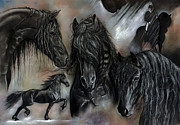 Black Stallion Paintings - The Friesians In My Head by Caroline Collinson