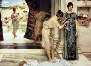 Towel Metal Prints - The Frigidarium Metal Print by Sir Lawrence Alma-Tadema