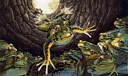 Storybook Framed Prints - The Frog and the Well Framed Print by Denny Bond