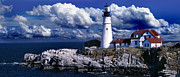 Maine Lighthouses Posters - The Front At Portland Head Poster by Skip Willits