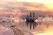 Tall Ship Prints - The frozen north Print by Claude McCoy