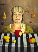 Mango Painting Posters - The Fruit Collector 2 Poster by Leah Saulnier The Painting Maniac