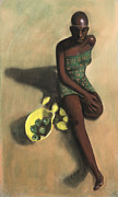 Black Art Pastels Framed Prints - The Fruit Seller Framed Print by L Cooper