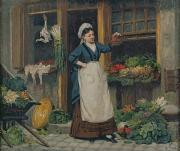 French Door Paintings - The Fruit Seller by Victor Gabriel Gilbert