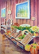 Watercolor Paintings - The Fruit Stand by Bobbi Price