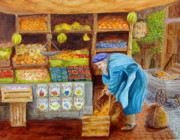 Fruit Stand Paintings - The Fruitman by Pauline Ross