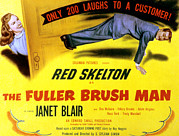 Skelton Framed Prints - The Fuller Brush Man, Janet Blair, Red Framed Print by Everett