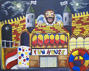 Rides Painting Originals - The Funhouse Castle by Patricia Arroyo