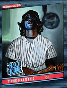 Baseball Card Paintings - The Furies - Blue Fury - The Warriors Movie by Ryan Jones