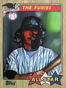 Baseball Card Painting Posters - The Furies - Red Fury - The Warriors Movie Poster by Ryan Jones