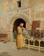 Arabic Framed Prints - The Furniture Maker Framed Print by Ludwig Deutsch