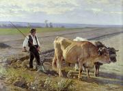Farm Team Paintings - The Furrow by Edouard Debat-Ponsan