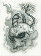 Tattoo Prints - The Fuse is Lit in Gray Print by Mike Royal