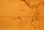 Darwin Photos - The Galapagos Islands Seen On One Of Darwins Maps by Volker Steger