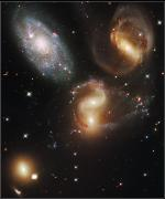 Hubble Space Telescope Views Posters - The Galaxies Of Stephans Quintet Poster by Nasa/Esa