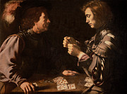 Money Painting Prints - The Gamblers Print by Michelangelo Caravaggio
