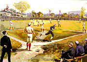 Baseball Bat Mixed Media Prints - The Game Print by Charles Shoup
