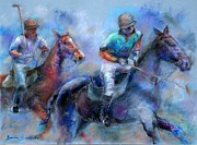 Men Pastels Posters - The Game Is On Poster by Bonnie Goedecke