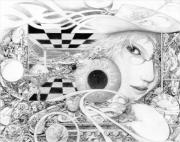 Surrealism Drawings Originals - The Game by Jay Garfinkle