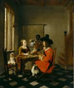 Traditional Art - The Game of Cards by Hendrik van der Burch