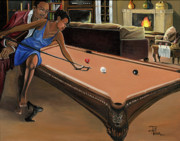 Billiard Prints - The Game Print by Toni  Thorne