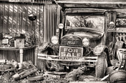 Ford Model T Car Photo Prints - The Garage Sale Black and White Print by JC Findley