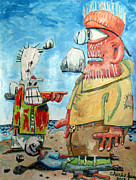 Clown Painting Originals - The Garbage Bag Clown Kicked Me Off The Beach For A Misstep by Charlie Spear