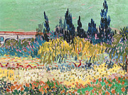 Garden Flowers Paintings - The Garden at Arles  by Vincent Van Gogh