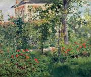 Red Leaf Paintings - The Garden at Bellevue by Edouard Manet