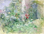 Flower Gardens Painting Posters - The Garden at Bougival Poster by Berthe Morisot
