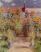 Roofs Paintings - The Garden at Vetheuil by Claude Monet