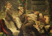 Family  On Canvas Paintings - The Garden Bench by Tissot