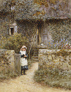 Black Cat Landscape Posters - The Garden Gate Poster by Helen Allingham