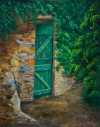 Vines Paintings - The Garden Gate In Cinque Terre by Charlotte Blanchard