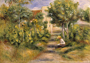 Foliage Paintings - The Garden in Cagnes by Pierre Auguste Renoir