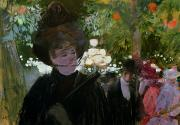 Fan Metal Prints - The Garden in Paris Metal Print by Jean Louis Forain