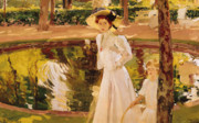 White Dress Painting Prints - The Garden Print by Joaquin Sorolla y Bastida
