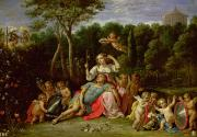 Tryst Acrylic Prints - The Garden of Armida Acrylic Print by David the younger Teniers
