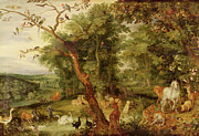 Garden-of-eden Paintings - The Garden of Eden by Jan the Elder Brueghel